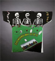 "T-shirt: ""Vegas Dead / Tour '92. Back: ""Las Vegas / May 29, 30, 31"" - skeletons at gambling table"