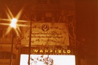 "Grateful Dead banner on the Warfield Theater, at night, ca. 1980: ""They're not the best at what they do, they're the only ones that do what they do."""