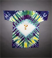 "T-shirt: ""Grateful Dead"" - skeleton jack-in-the-box. Back: question mark"
