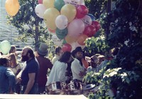 "Grateful Dead at ""A Day on the Green #8"": Robbie Taylor, John Barlow, and unidentified others"