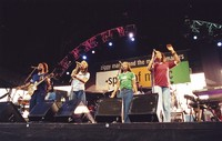 Ziggy Marley and the Melody Makers: Stephen Marley, Sharon Marley, Cedella Marley, and Erica Newell, with Ziggy Marley and Aston Barrett in the background