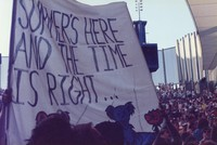 "Deadhead banner stating: ""Summer's here and the time is right"", ca. 1980s"
