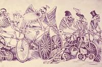 Deadhead (?) art: skeleton bicyclists graphic art