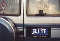 "Deadhead vehicle with ""GDTRFB"" Michigan license plate, ca. 1990"