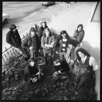 "Grateful Dead: Bill Kreutzmann, Laird Grant, Bob Weir, Ron ""Pigpen"" McKernan, Danny Rifkin, Jerry Garcia, with Phil Lesh and Rosie McGee in back, and Rock Scully and Tangerine in front"