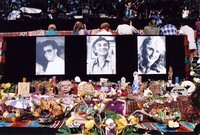 Bill Graham Memorial (Laughter, Love And Music): photographs of Steve Kahn, Bill Graham, and Melissa Gold, and offerings