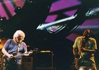 """Jerry Garcia and David Murray performing """"Not Fade Away"""""""