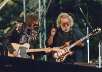 "Neil Young and Jerry Garcia performing ""Forever Young"" during the Bill Graham tribute"