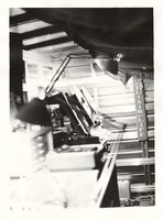 Tape machine stand in an unidentified studio, ca. 1980s