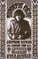 Grateful Dead, Lightning Hopkins, Loading Zone, Yardbirds, Country Joe and the Fish - Fillmore Auditorium - October 21-22, [1966]: slide reproduction (by John Werner) of the poster by Wes Wilson and Herb Greene