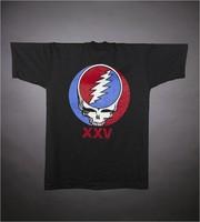 "T-shirt: ""American Beauty"" - rose. Back: ""XXV"" - stealie"