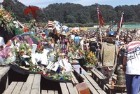 Memorial for Jerry Garcia: mourners and memorial display