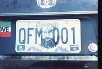 Deadhead vehicle with picture of an image of Jerry Garcia imposed on an Oregon license plate