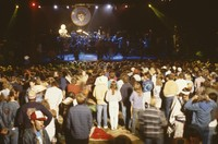 Grateful Dead, ca. 1990 (?): distant view of the stage, and Deadheads