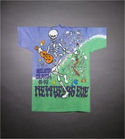 "T-shirt: ""Grateful Dead"" - skeleton band. Back: ""Oakland Coliseum / New Year's Eve 91-92"""