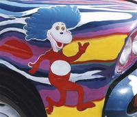 Deadhead vehicle with Dr. Seuss's Thing 1