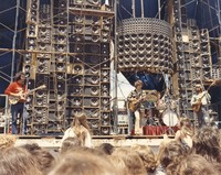 Grateful Dead: Jerry Garcia, Bob Weir, Bill Kreutzmann and Phil Lesh in front of the Wall of Sound