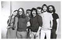 Grateful Dead publicity shoot at Club Front: Donna Godchaux, Keith Godchaux, Phil Lesh, Mickey Hart, Bill Kreutzmann, Bob Weir, Jerry Garcia