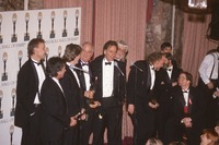 Rock and Roll Hall of Fame induction ceremony at the Waldorf-Astoria Hotel: Bruce Hornsby, Mickey Hart, Phil Lesh, Bill Kreutzmann, Bob Weir, Tom Constanten, Vince Welnick, two unidentified men, and Dennis McNally (seated)