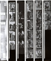 Renee LeBallister, Bill Kreutzmann, John Kahn, Jerry Garcia, Merl Saunders and other musicians, ca. 1970s: contact sheet with 30 images