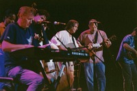 Bruce Hornsby, Sherri Jackson, Rob Wasserman, Bob Weir, Jorma Kaukonen, and Michael Falzarano during the acoustic jam