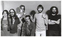 Grateful Dead publicity shoot at Club Front: Donna Godchaux, Keith Godchaux, Phil Lesh, Bill Kreutzmann, Bob Weir, Jerry Garcia