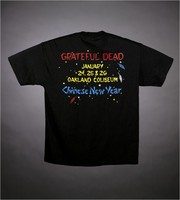 "T-shirt: ""Grateful Dead / Chinese New Year / Year of the Rooster"" - rooster, stars. Back: ""Grateful Dead / January 24, 25 & 26 / Oakland Coliseum / Chinese New Year"""