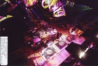 Grateful Dead: Phil Lesh, Bill Kreutzmann, Bob Weir, Mickey Hart, Jerry Garcia, Vince Welnick: from the lighting catwalk