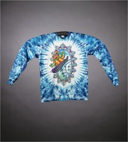 "Long-sleeved T-shirt: ""Grateful Dead"" - snowboarding bear. Back: ""Grateful Dead"" - snowboarding bear, rose snowflakes"