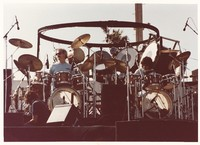 Grateful Dead: Bill Kreutzmann and Mickey Hart, with unidentified man