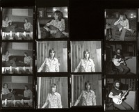 Nicky Hopkins, Jerry Garcia, and an unidentified person, ca. 1975: contact sheet with 11 images