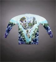 "Long-sleeved T-shirt: Skiing bear, crow. Back: ""Ski Dead / Yard Sale"" - skiing bear and turtle, dog with brandy barrel"