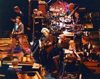 "Grateful Dead and Huey Lewis performing ""Lovelight"": Bruce Hornsby, Bob Weir, Phil Lesh, Jerry Garcia, Huey Lewis, Bill Kreutzmann, Mickey Hart, Vince Welnick"