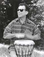 Mickey Hart playing a djembe: publicity photo