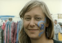 Deadhead with a Grateful Dead-themed face painting, ca. 1980s