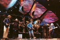 Grateful Dead: Phil Lesh, Bob Weir and Jerry Garcia, with Bill Kreutzmann and Mickey Hart in the background