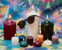 Grateful Dead merchandise: sunglasses displayed on candles