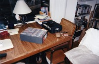 Grateful Dead office at 1061 Lincoln Street, ca. 1990s: box of tickets, dog