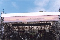 Bill Graham Memorial (Laughter, Love And Music): banner over the stage