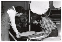 "Greg Errico and Mickey Hart constructing ""The Beast"""