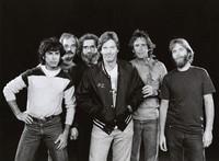 Grateful Dead publicity photograph: Mickey Hart, Bill Kreutzmann, Jerry Garcia, Phil Lesh, Bob Weir, Brent Mydland