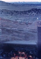 Grateful Dead at Red Rocks Amphitheatre: distant view of the stage, with Denver in the background