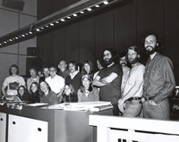 Grateful Dead (movie): Jerry Garcia and unidentified others at the wrap-up session at the Warner Brothers studios in Burbank