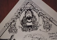"Grateful Dead merchandise: drawing of Ron ""Pigpen"" McKernan that was part of a display at an unknown location"
