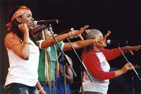 Ziggy Marley and the Melody Makers: Sharon Marley, Cedella Marley, and Erica Newell