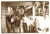 Grateful Dead Lincoln Street office staff, July 1971: Dale Franklin, David Parker, Jon McIntire, Sam Cutler, Alan Trist, Bonnie Parker, Annette Flowers