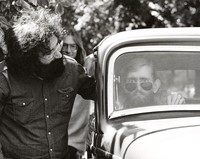 Jerry Garcia and John Dawson (with Steve Barncard in the background) at the Lincoln Street office