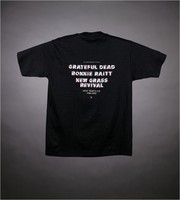 "T-shirt: ""Which Came First?"" - chicken and egg. Back: ""Bill Graham Presents in Oakland - Grateful Dead, Bonnie Raitt, New Grass Revival - New Year's Eve 1989-1990"""
