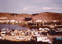 Deadhead camping area, with distant view of the stage at Laguna Seca