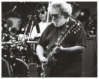 Grateful Dead, ca. 1992: Jerry Garcia with Mickey Hart in the background